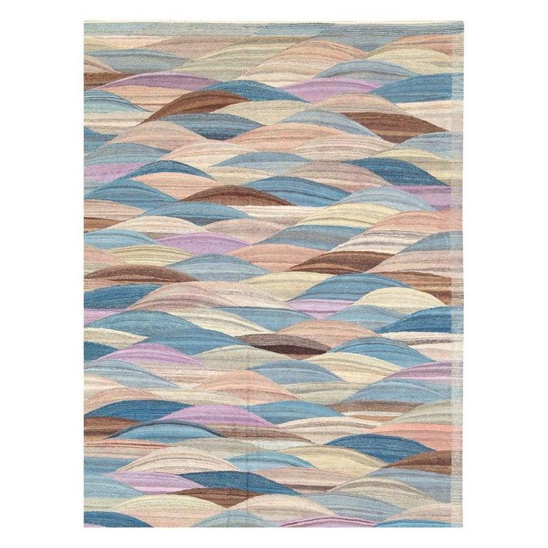 Scandinavian Modern Swedish Inspired Contemporary Turkish Flat-Weave Kilim Large Oversize Carpet For Sale