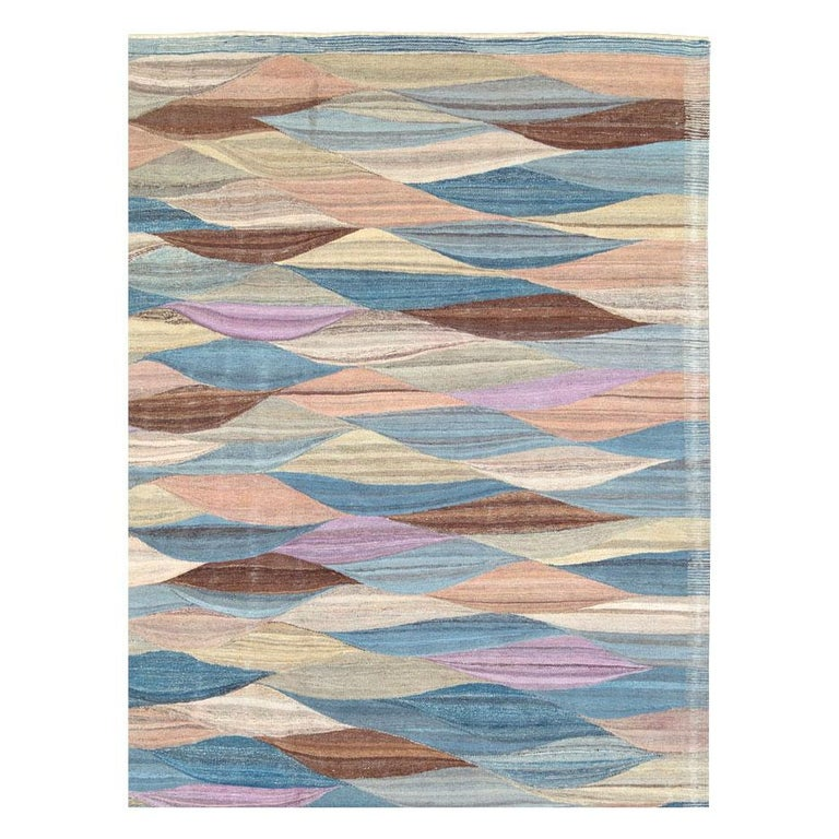 Hand-Woven Swedish Inspired Contemporary Turkish Flat-Weave Kilim Large Oversize Carpet For Sale
