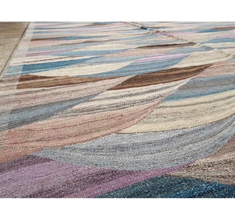 Wool Swedish Inspired Contemporary Turkish Flat-Weave Kilim Large Oversize Carpet For Sale