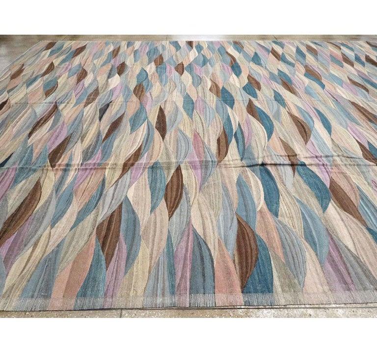 Swedish Inspired Contemporary Turkish Flat-Weave Kilim Large Oversize Carpet For Sale 2