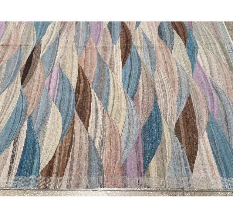 Swedish Inspired Contemporary Turkish Flat-Weave Kilim Large Oversize Carpet For Sale 3