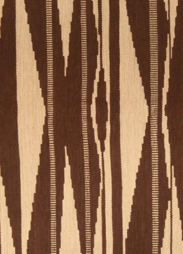Swedish inspired geometric brown and beige handmade wool rug Size: 9'7