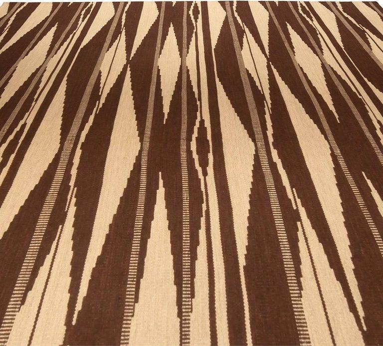 Scandinavian Modern Swedish Inspired Geometric Brown and Beige Wool Rug For Sale