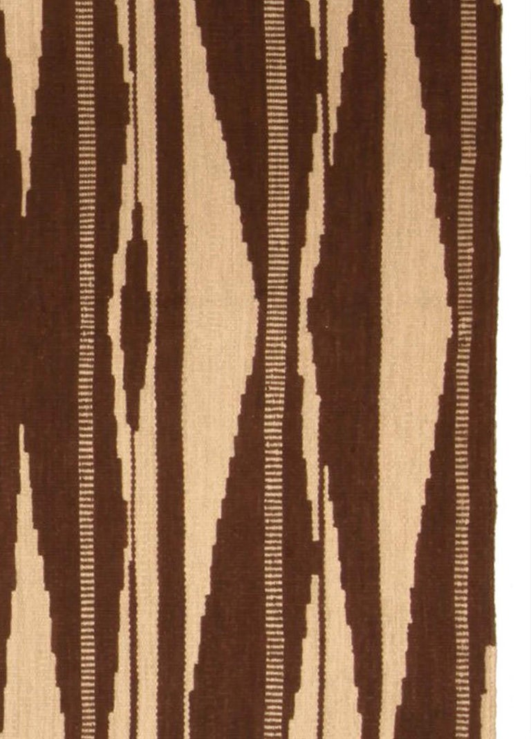 Hand-Knotted Swedish Inspired Geometric Brown and Beige Wool Rug For Sale