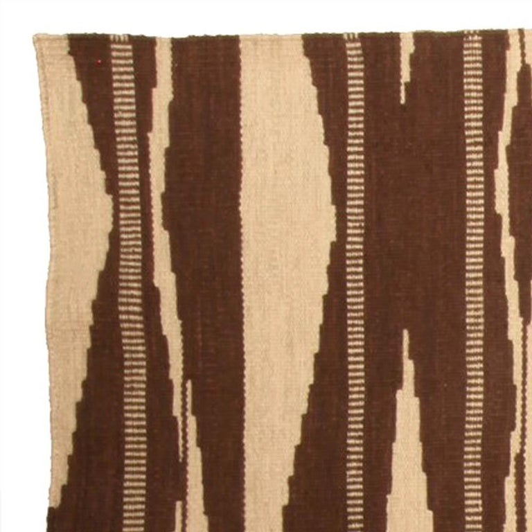 Contemporary Swedish Inspired Geometric Brown and Beige Wool Rug For Sale
