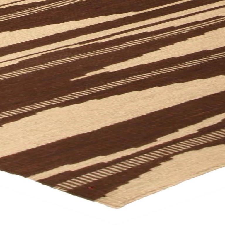 Swedish Inspired Geometric Brown and Beige Wool Rug For Sale 1