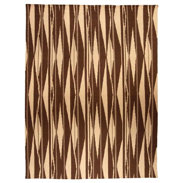Swedish Inspired Geometric Brown and Beige Wool Rug For Sale