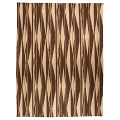 Swedish Inspired Geometric Brown and Beige Hand Knotted Wool Rug
