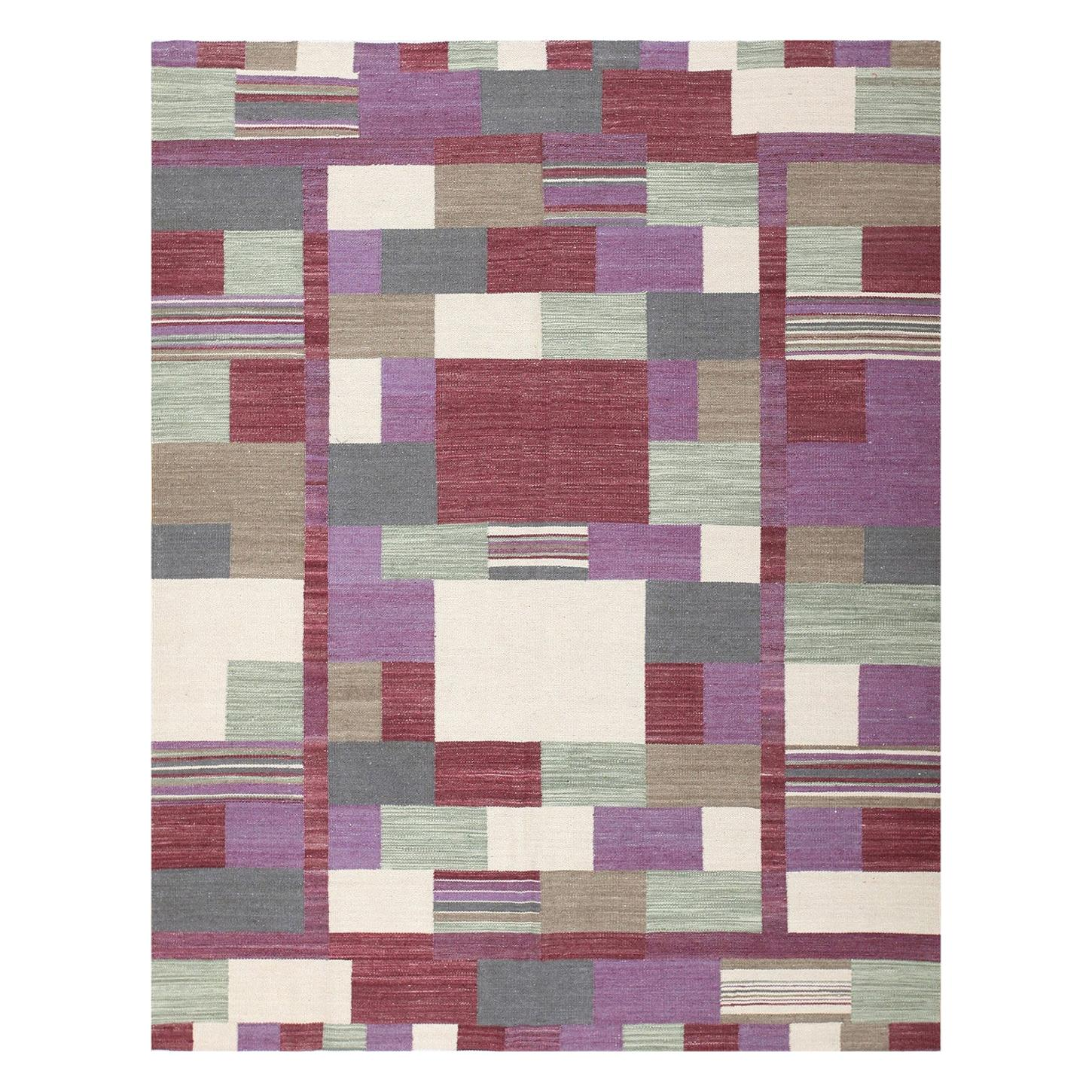Swedish Inspired Modern Contemporary Kilim Rug. Size: 7 ft 3 in x 9 ft 1 in