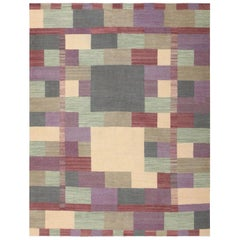 Swedish Inspired Modern Kilim Rug. Size: 7 ft x 9 ft 2 in (2.13 m x 2.79 m)