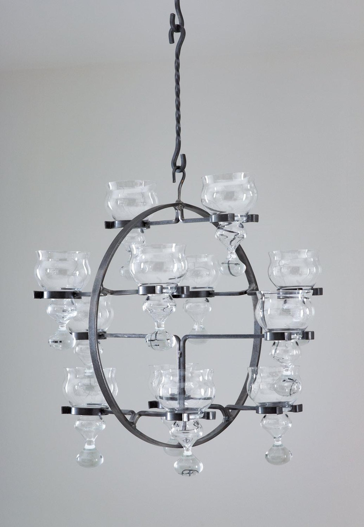 Swedish Iron And Glass Hanging Candelabra Chandelier By Bertil Vallien For Sale At 1stdibs