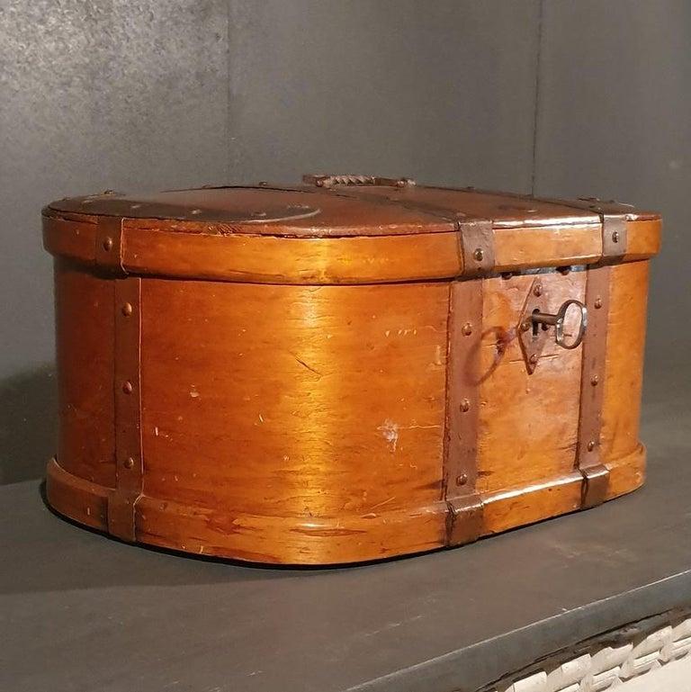 Gustavian Swedish Iron Bound Bentwood Box For Sale