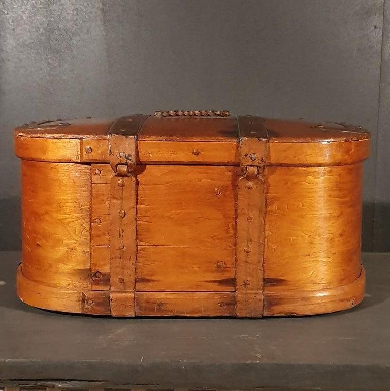 Polished Swedish Iron Bound Bentwood Box For Sale