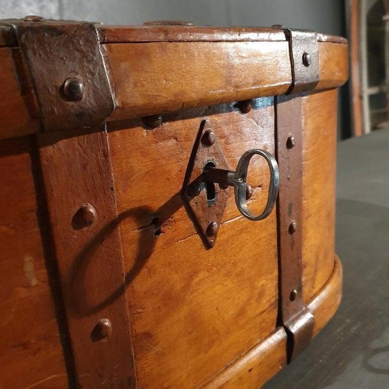 19th Century Swedish Iron Bound Bentwood Box For Sale