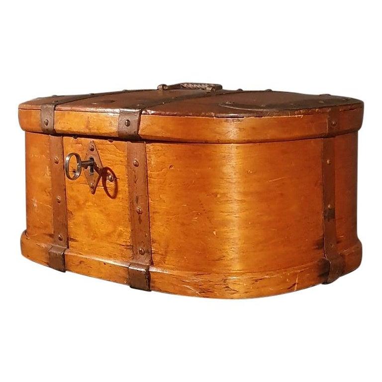 Swedish Iron Bound Bentwood Box For Sale