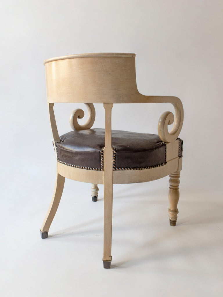 Empire Swedish Ivory-Glazed Birch, Patinated Leather and Brass 19th Century Armchair For Sale