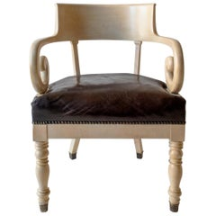 Swedish Ivory-Glazed Birch, Patinated Leather and Brass 19th Century Armchair
