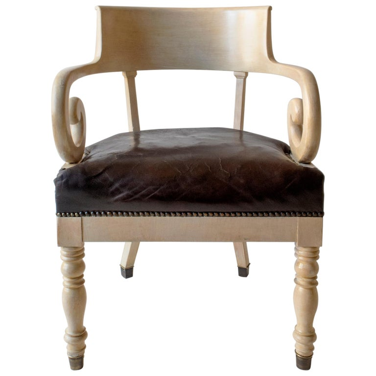 Swedish Ivory-Glazed Birch, Patinated Leather and Brass 19th Century Armchair For Sale