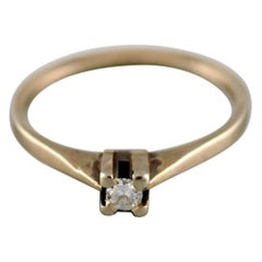 Swedish Jeweler, Vintage Ring in 18 Carat White Gold Adorned with Diamond