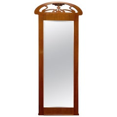 Swedish Jugend Art Nouveau Mahogany Pier Mirror