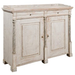 Swedish Karl Johan 1830s Painted Wood Sideboard with Marbleized Columns