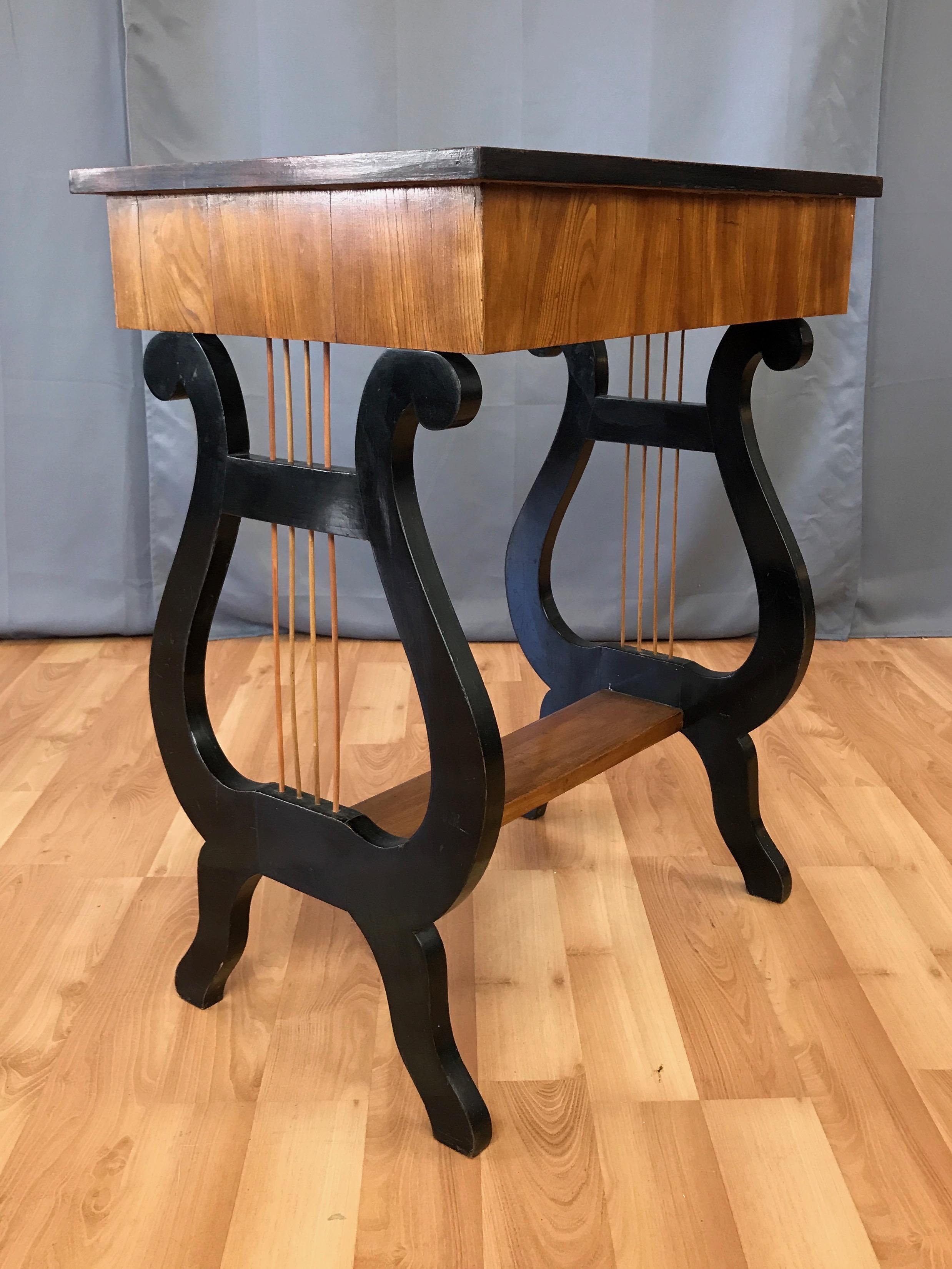 Swedish Karl Johan Biedermeier Lyre Motif Birch Table, 21