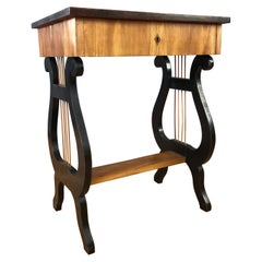 Swedish Karl Johan Biedermeier Lyre Motif Birch Table, 1825