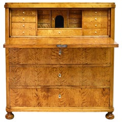 Swedish Karl Johan Chest of Drawers with Fall Front Secretary in Fire Birch