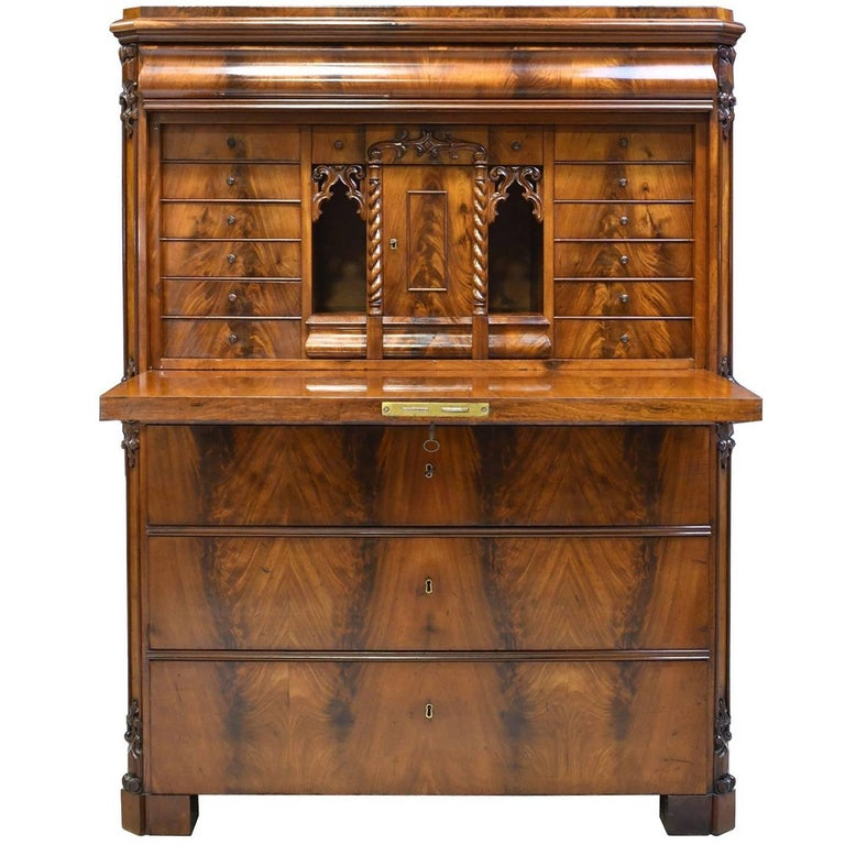 Swedish Karl Johan Secretary Desk in West Indies Mahogany, circa 1845