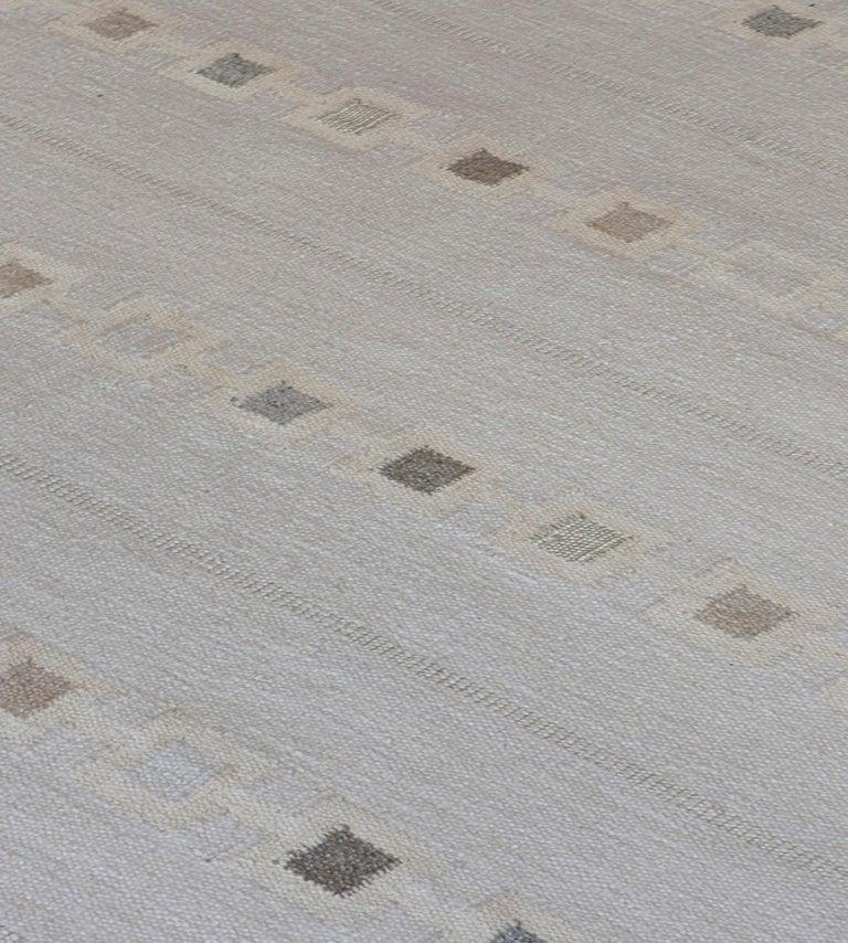 Indian Swedish Kilim Inspired Handwoven Wool Rug For Sale