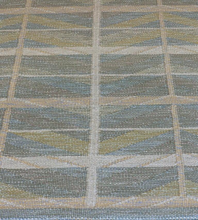 Hand-Woven Swedish Kilim Inspired Handwoven Wool Rug For Sale