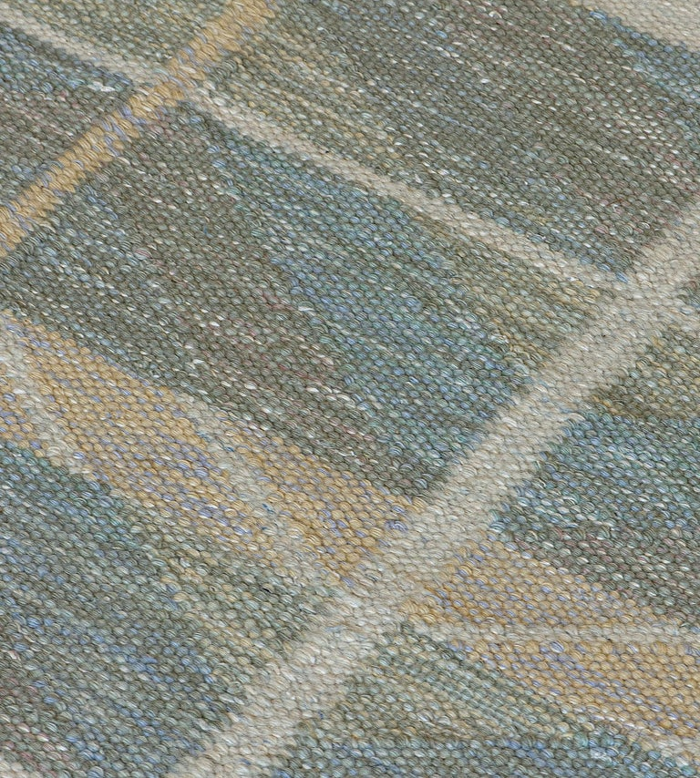 Contemporary Swedish Kilim Inspired Handwoven Wool Rug For Sale
