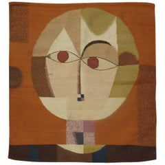Swedish Kilim with Facial Figure