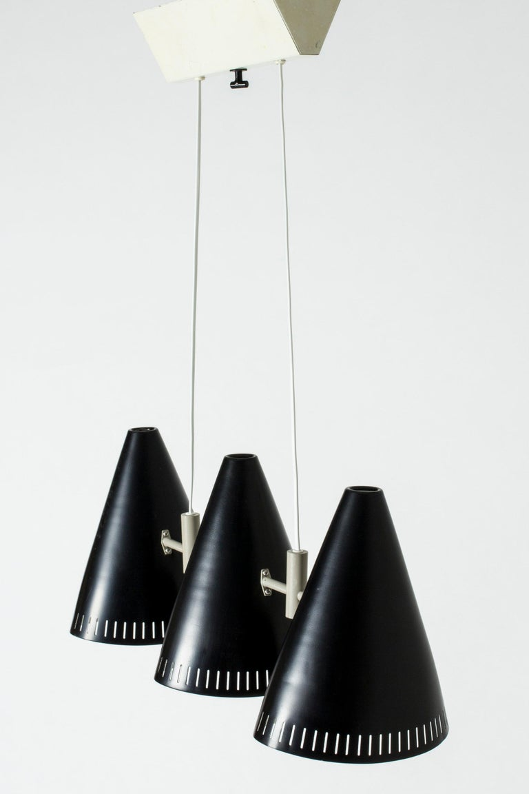 Scandinavian Modern Swedish Lacquered Metal Ceiling Lamp by Eje Ahlgren for Luco, 1950s For Sale