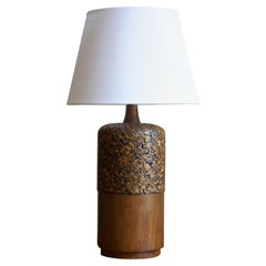 Swedish, Large Table Lamp, Stained Pine, Cork, Sweden, 1950s
