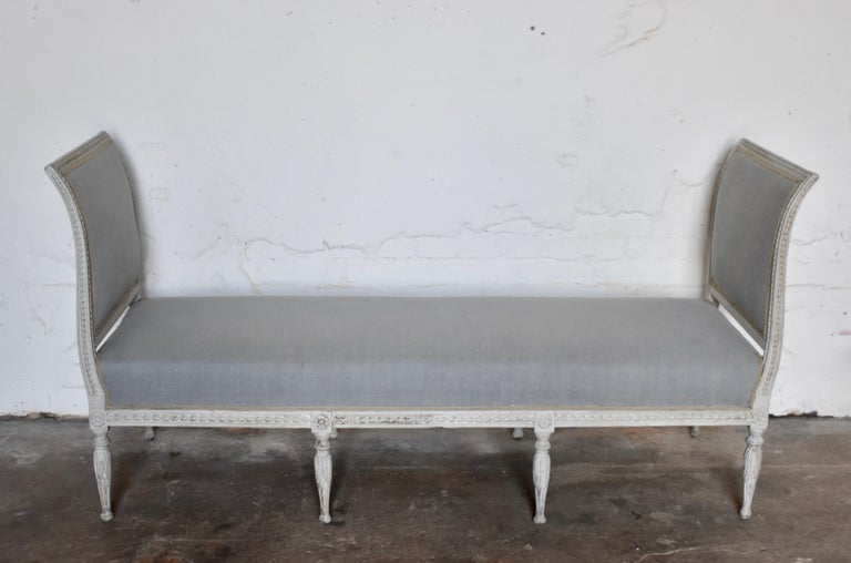 Swedish late Gustavian banquet sofa, the first half of the 19th century  New fabric -  Original upholstery  Scraped color with distressed antique white finish.