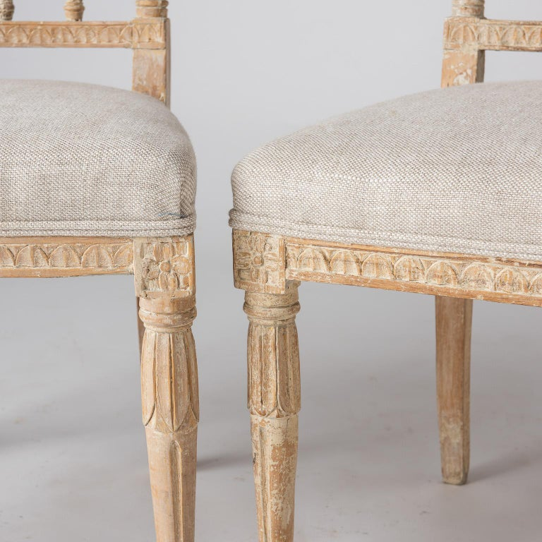 Swedish Late Gustavian Period Chairs in Original Paint, circa 1800 For Sale 3