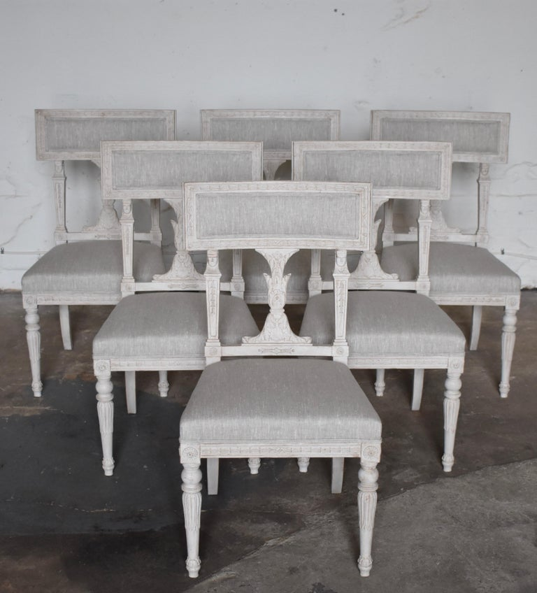 Swedish Late Gustavian Style dining chairs set of 6, 1920s Original upholstery  New Fabric   Scraped color with distressed antique white finish.