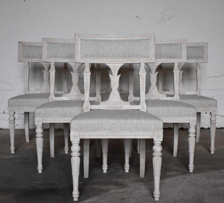 Hand-Crafted Swedish Late Gustavian Style Dining Chairs Set of 6, 1920s For Sale