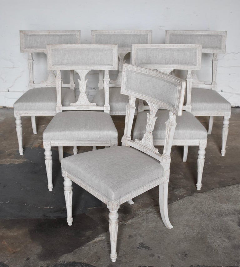 Swedish Late Gustavian Style Dining Chairs Set of 6, 1920s In Good Condition For Sale In Helsingborg, SE