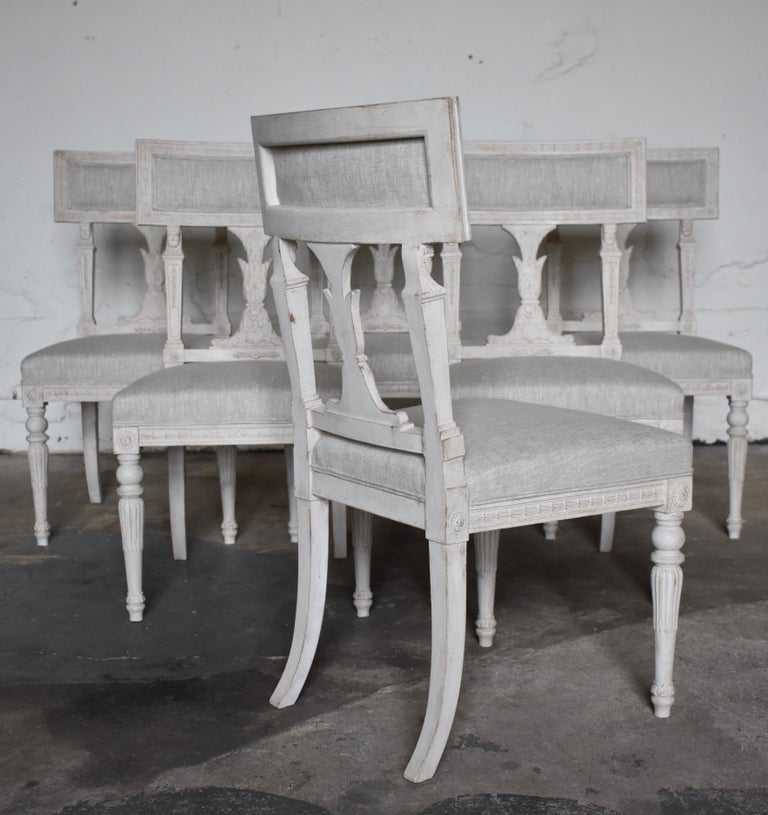 Early 20th Century Swedish Late Gustavian Style Dining Chairs Set of 6, 1920s For Sale