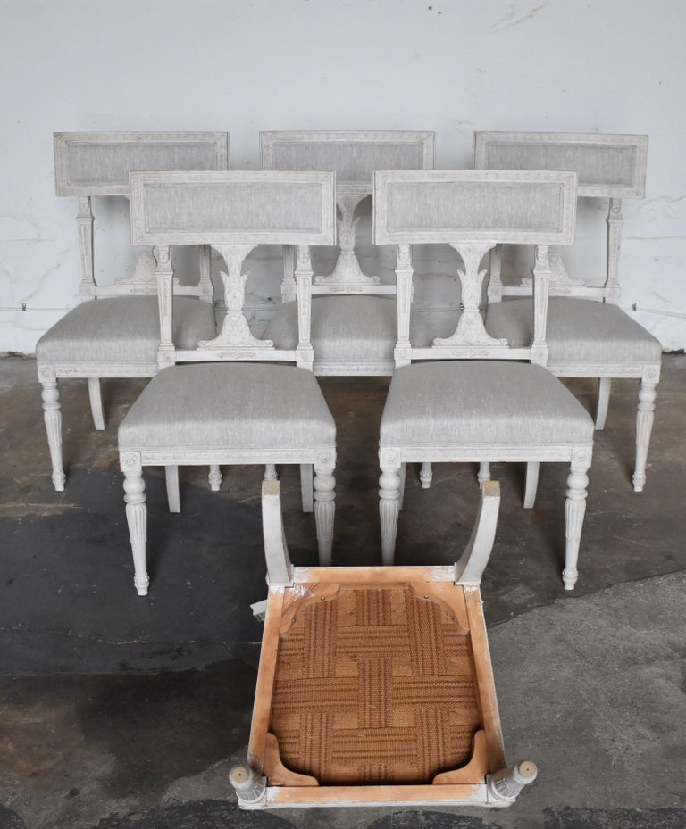 Upholstery Swedish Late Gustavian Style Dining Chairs Set of 6, 1920s For Sale