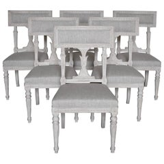 Swedish Late Gustavian Style Dining Chairs Set of 6, 1920s