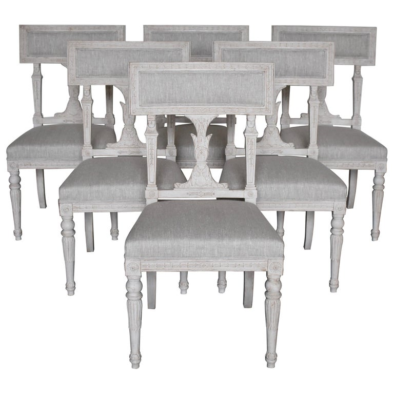 Swedish Late Gustavian Style Dining Chairs Set of 6, 1920s For Sale