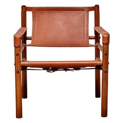 Swedish Leather Sling Chair in the Style of Arne Norell