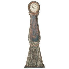 Swedish Long Case Clock in Tones of Blue and Green