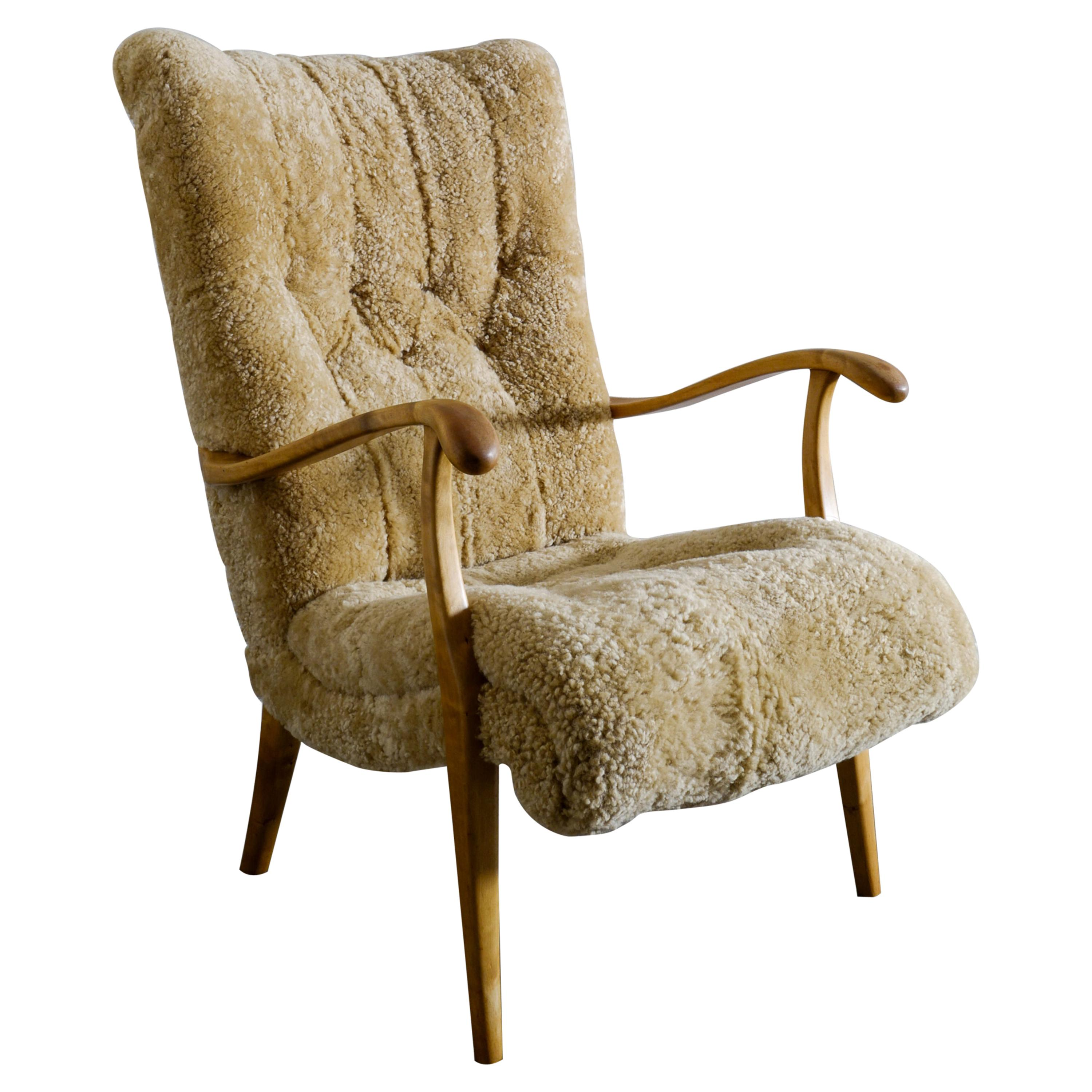 Swedish Lounge Easy Chair in Sheepskin Produced i Sweden, 1940s