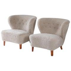 Swedish Lounge Chairs in Sheepskin by Gösta Jonsson, 1940s
