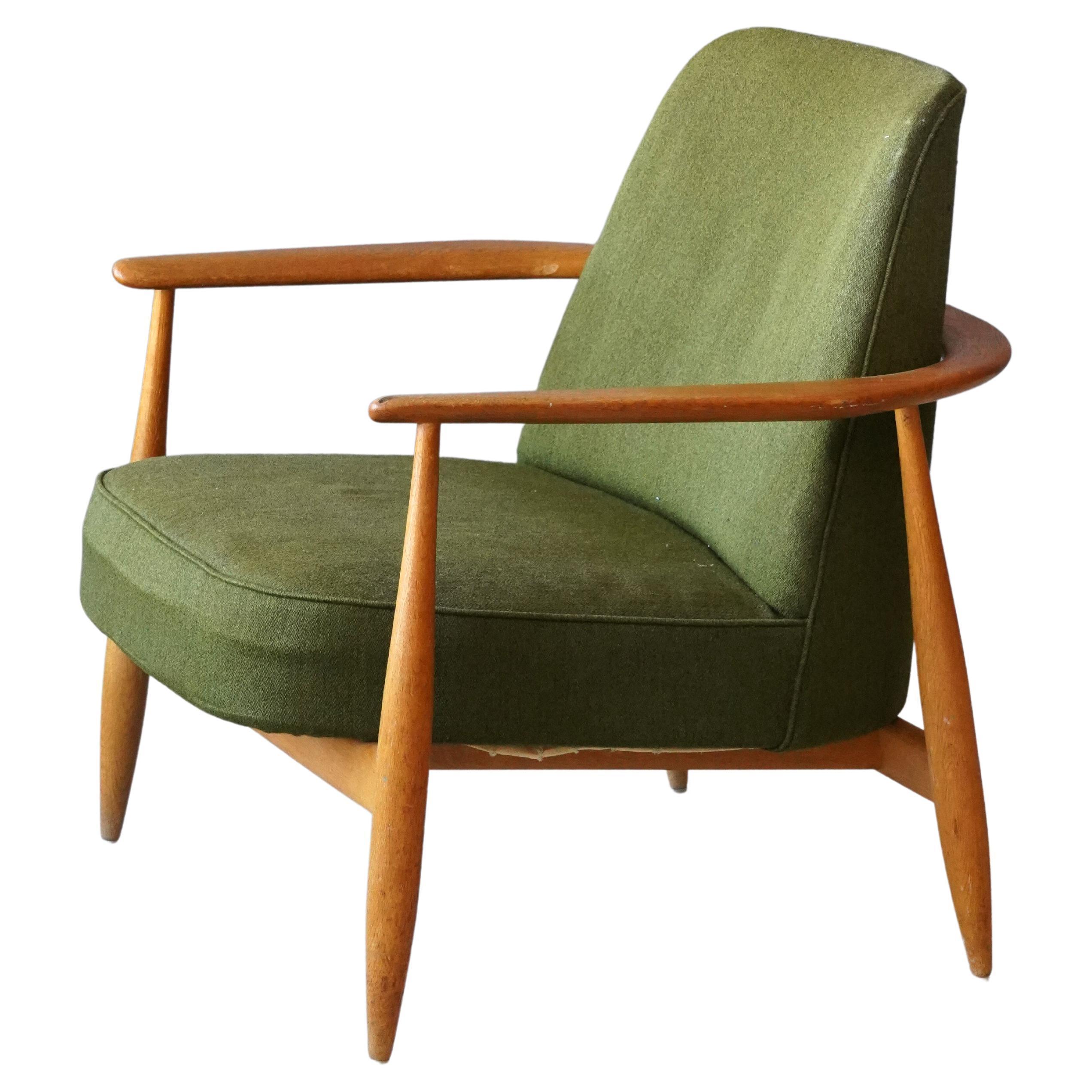 Swedish, Lounge Chair, Turned Oak, Green Fabric, Sweden, 1950s