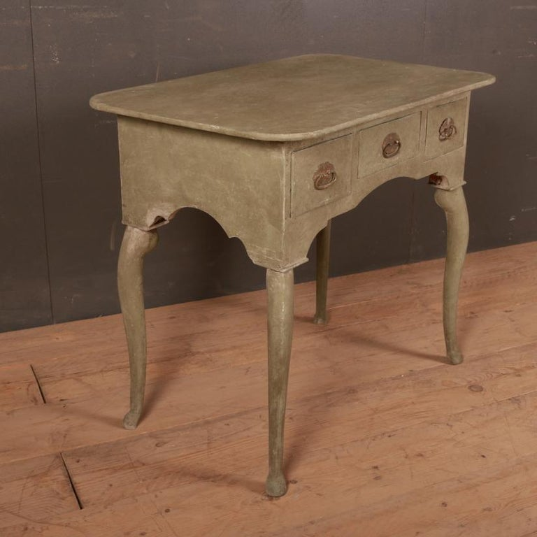 18th century painted Swedish Lowboy/ lamp table, 1790.